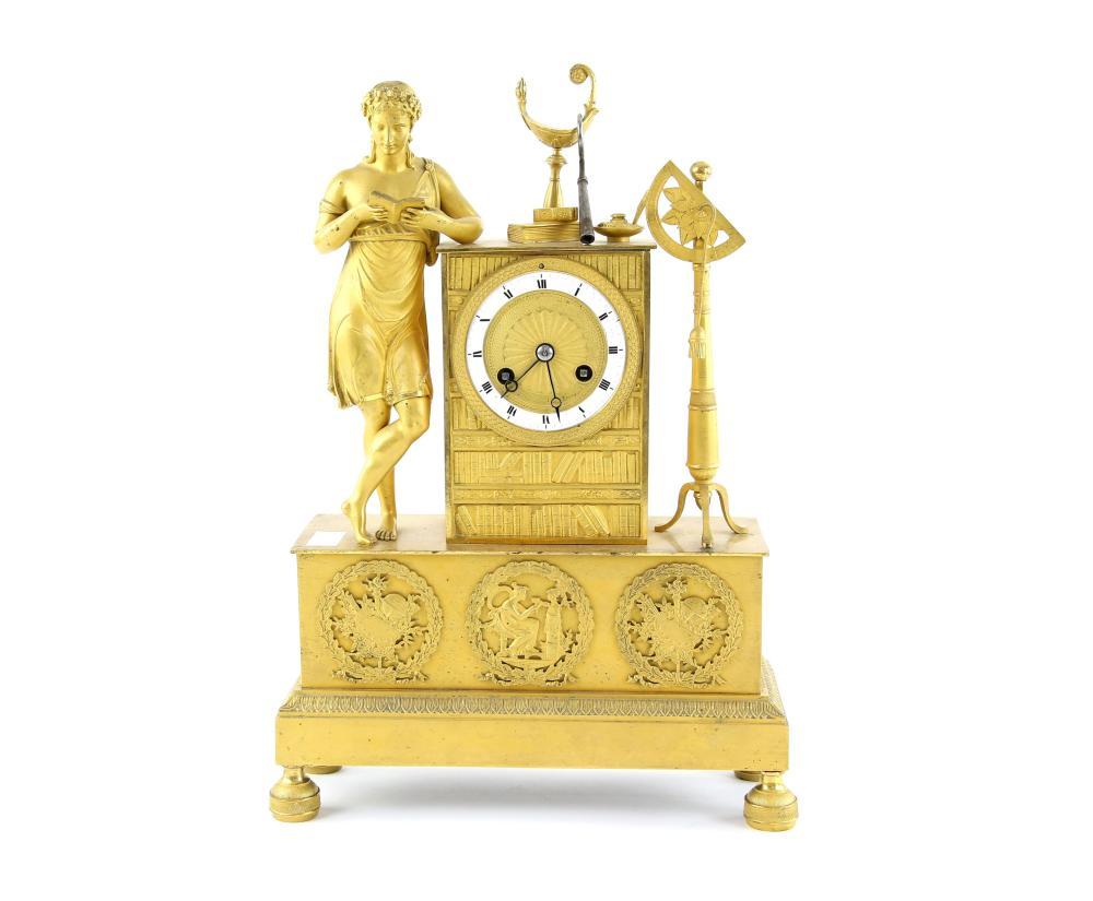 19th century French ormolu striking clock represen