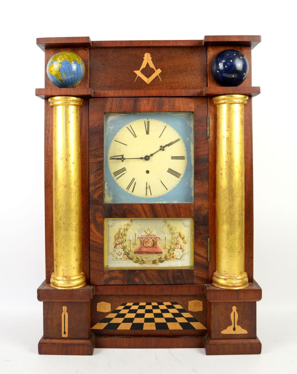 19th century American marquetry inlaid Masonic clo