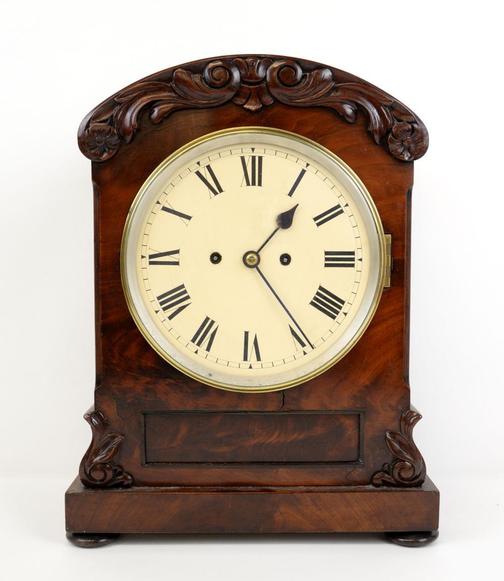 19th century mahogany double fusee mantle clock, w