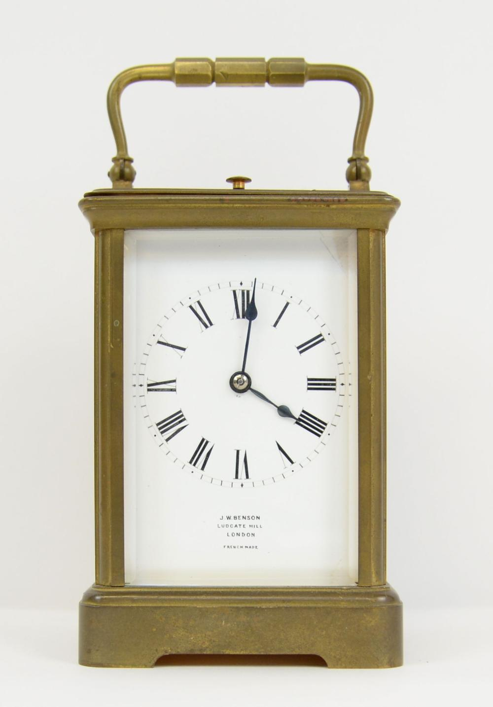 Brass and glass repeating carriage clock, retail m