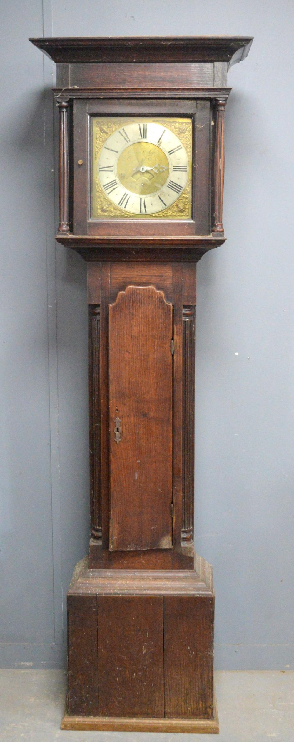 18th century oak cased 30 hour long case clock by