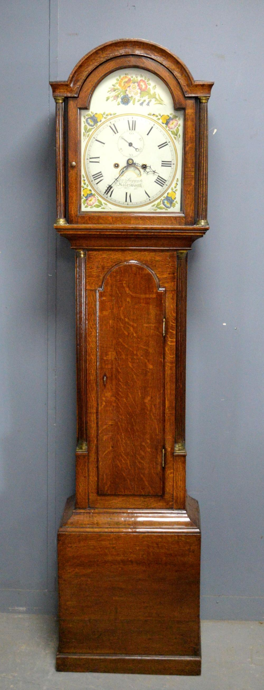 18th century oak cased 8 day long case cock with p