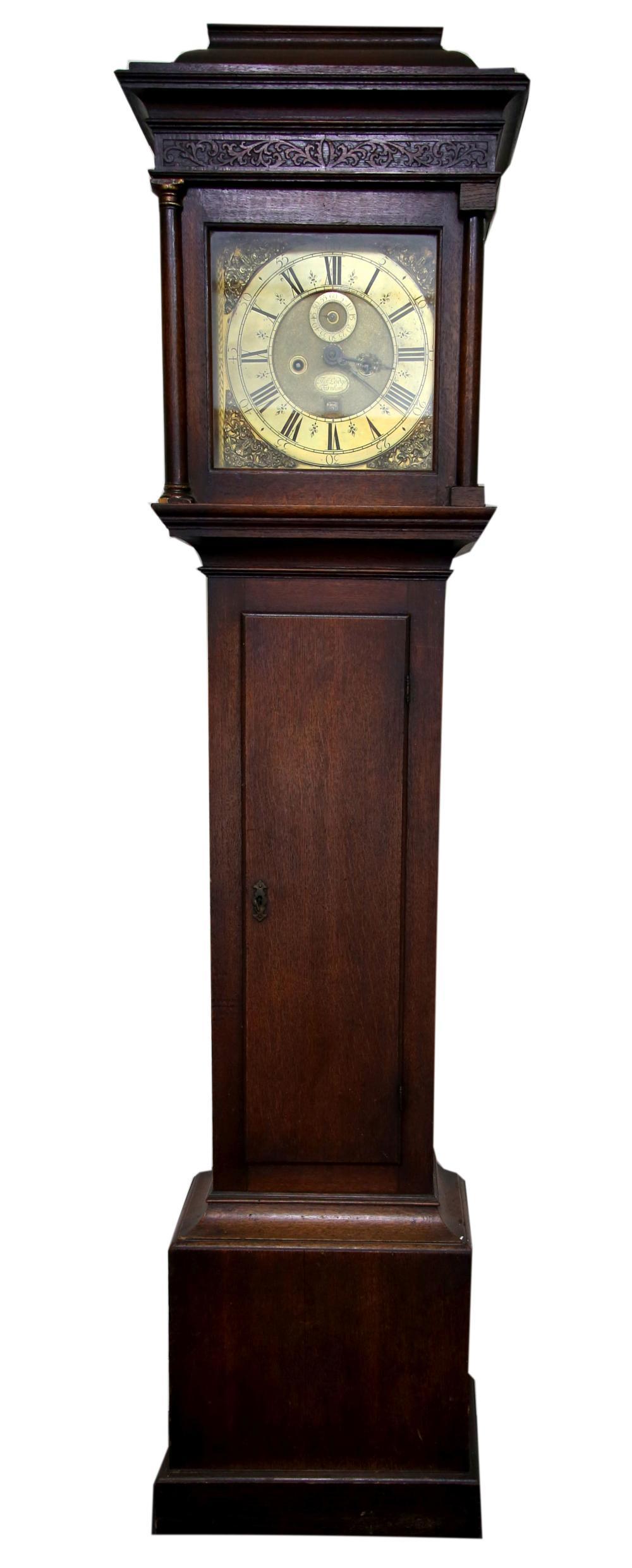 18th century oak eight day  long case clock by Tom