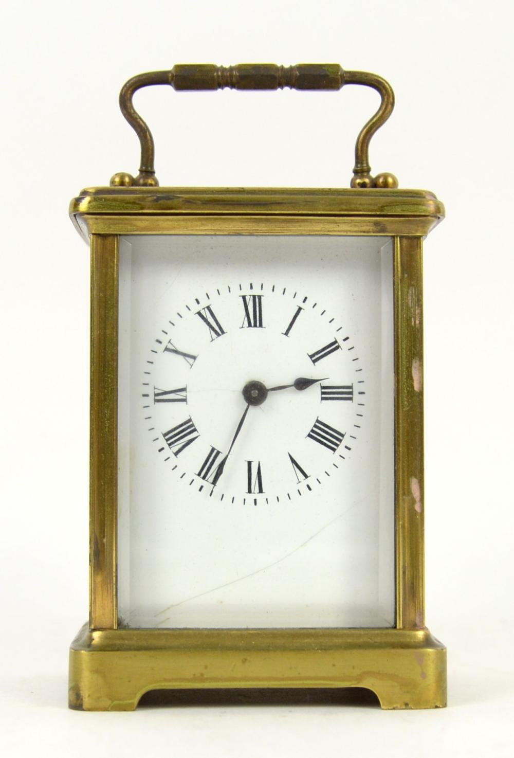 Brass carriage clock and an early 20th century  ma