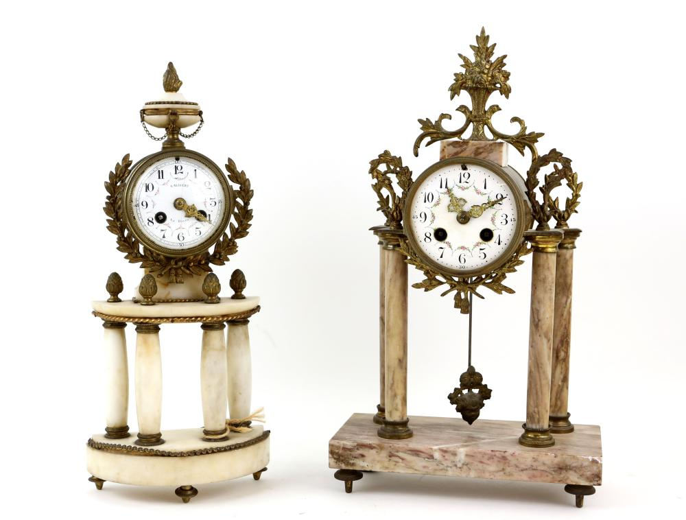 19th century French gilt metal and marble mantel c