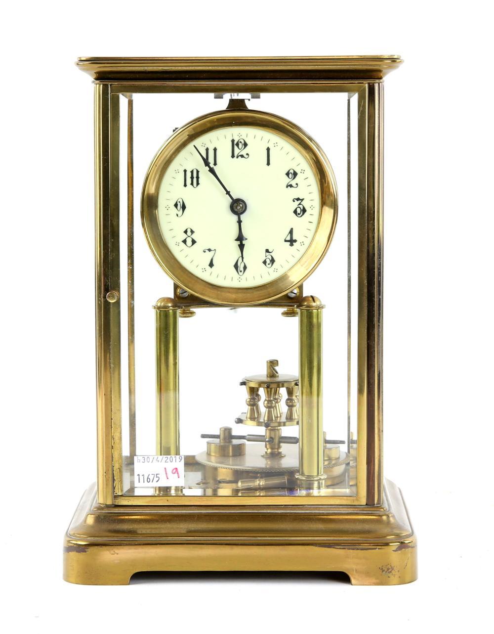 Gustav Becker gilt brass four glass mantel clock w