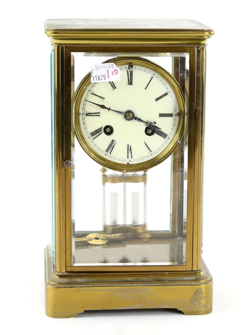 Late 19th century French four glass mantel clock w