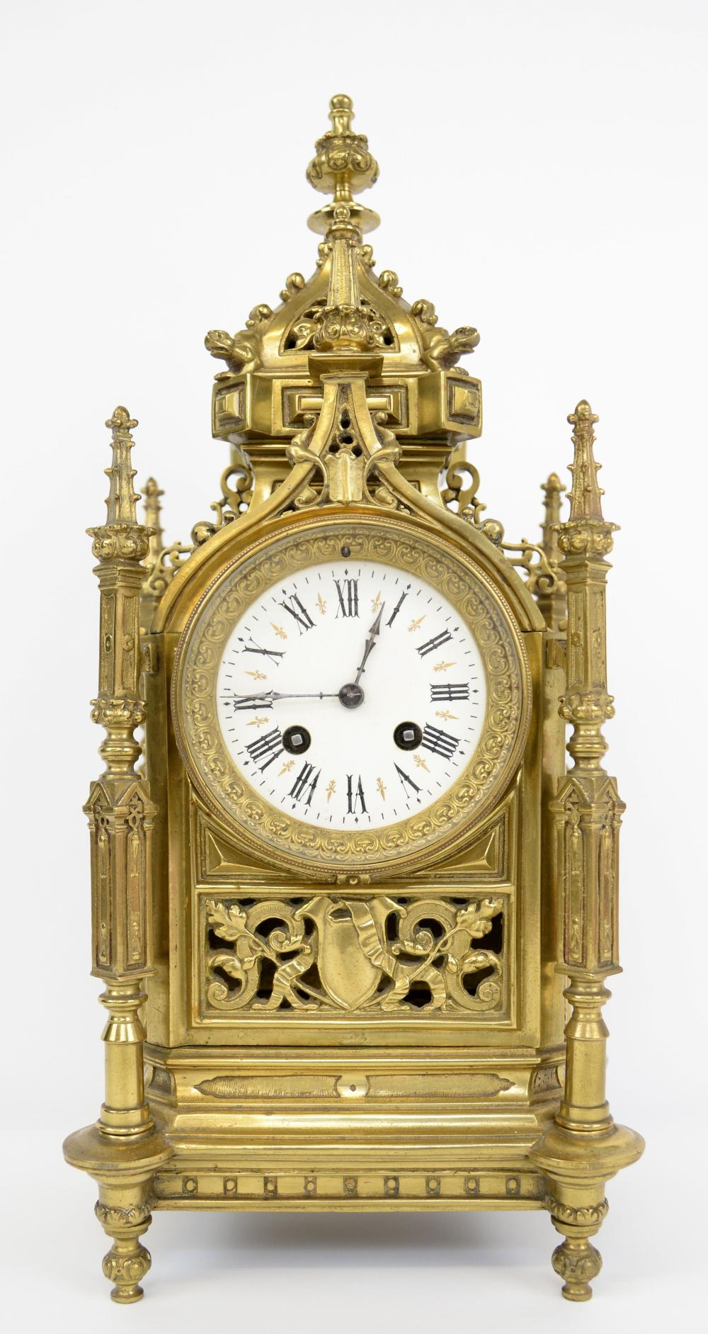 Early 20th century French brass Gothic twin train