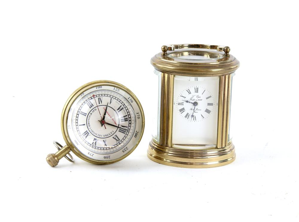 20th century French oval brass carriage clock 11cm