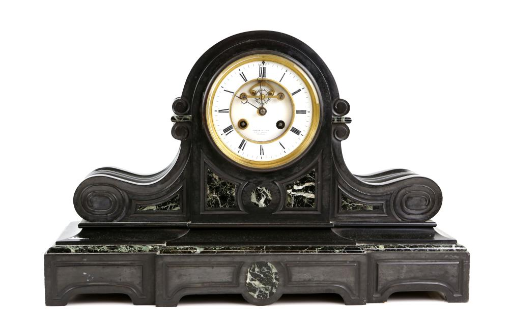 French black marble mantel clock with brevet escap