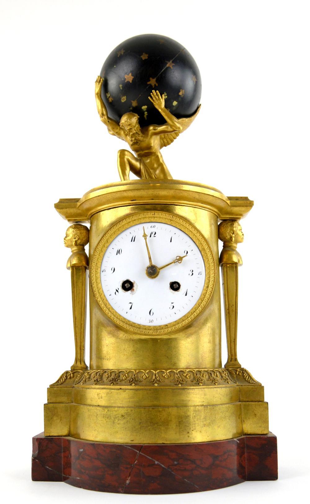 19th century French Empire gilt metal mantel clock