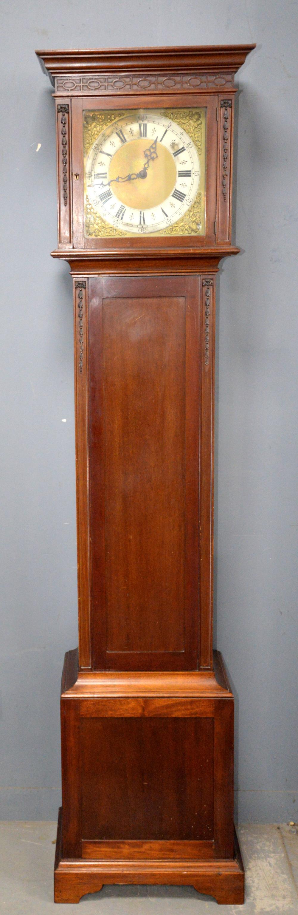 1920's mahogany eight day long case clock by A J F