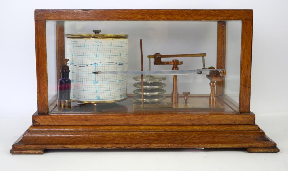 AMENDED: ink bottle no longer present. 20th century Mahogany cased barograph, 20cm x 34cm