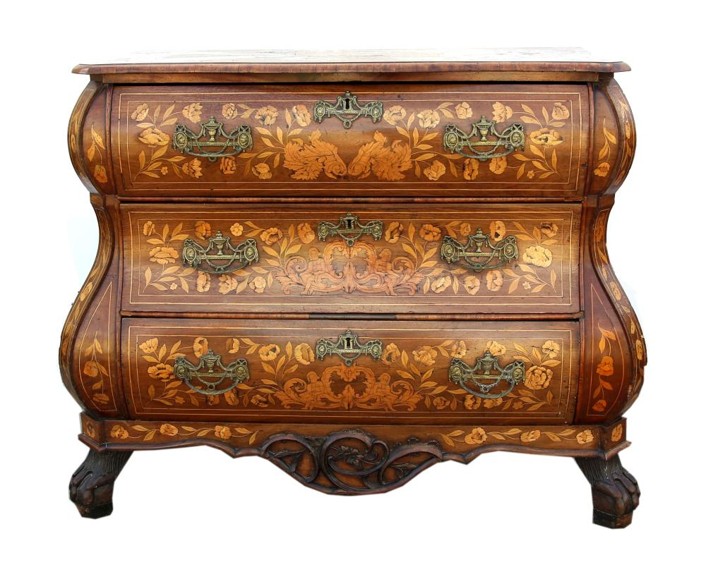 19th century Dutch mahogany and marquetry inlaid b