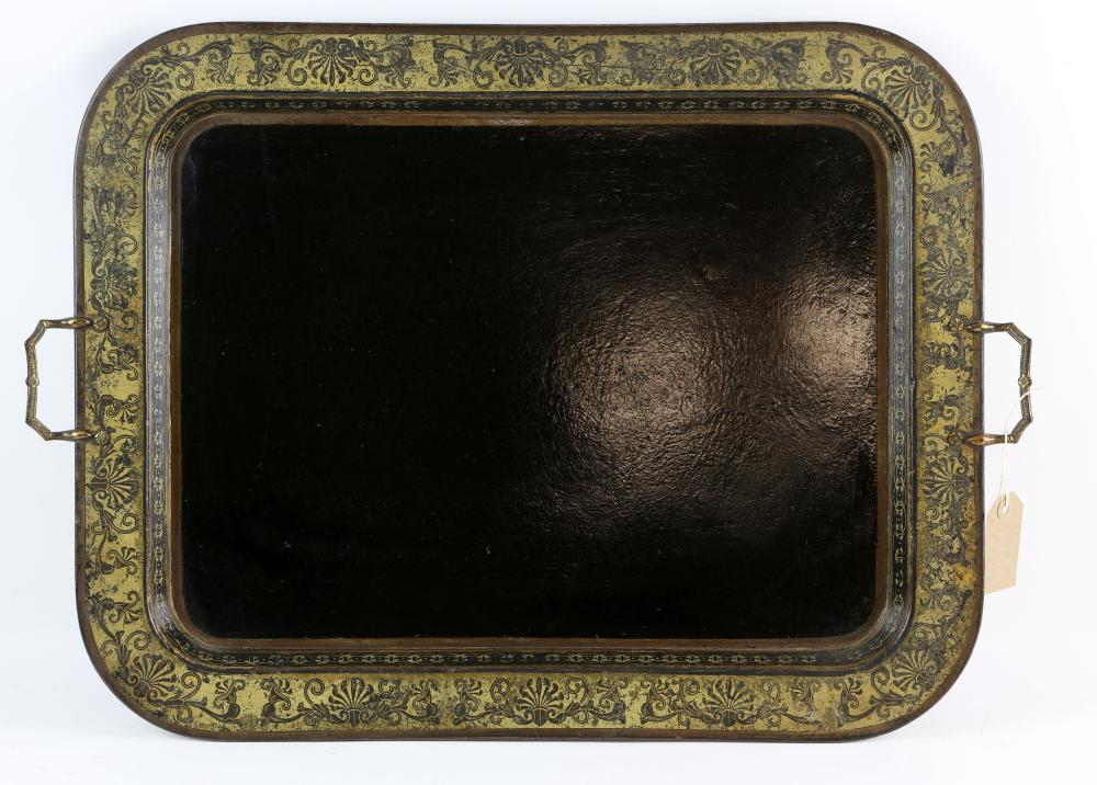 19th century papier mache rectangular two handled