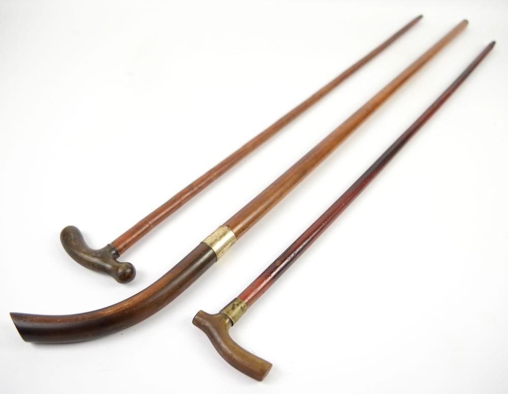 Three horn handled walking sticks