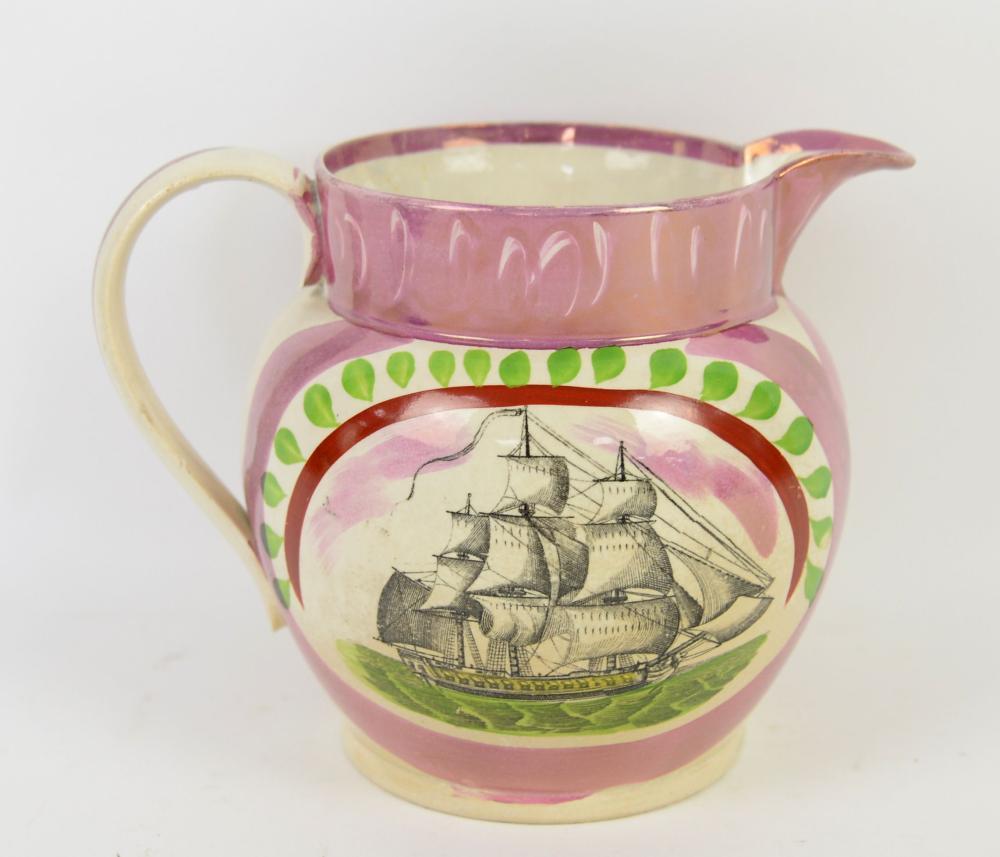 19th century Sunderland lustre jug, the central ca