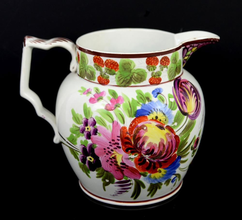 19th century porcelain jug decorated with strawber