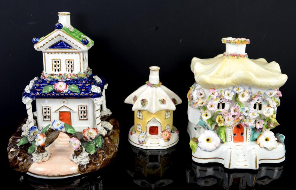 Three 19th century cottage pastille burners the la