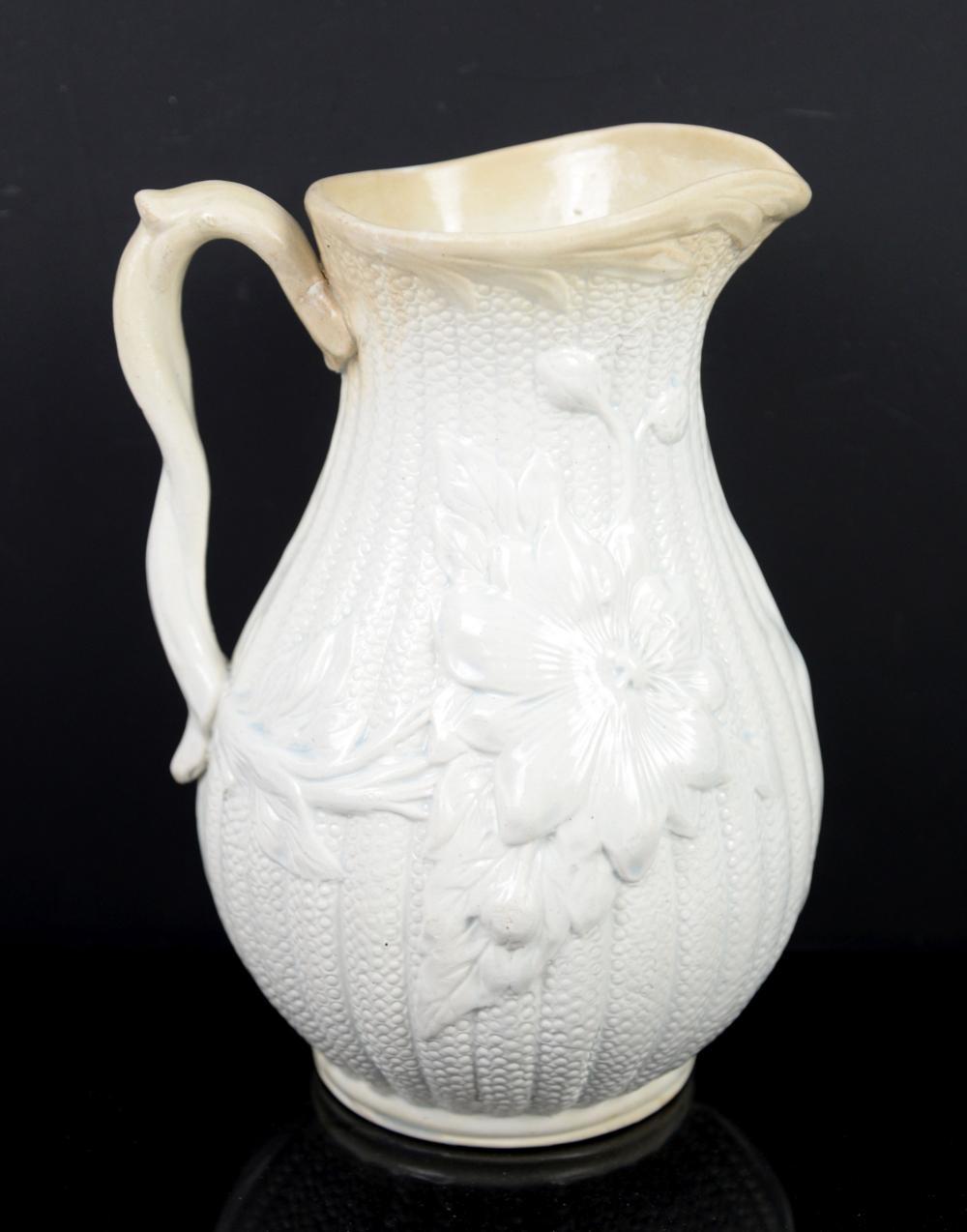 19th century salt glazed stoneware jug embossed wi