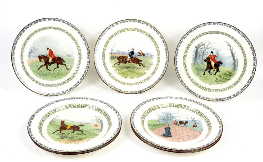 Set of seven Minton plates depicting humorous hunt