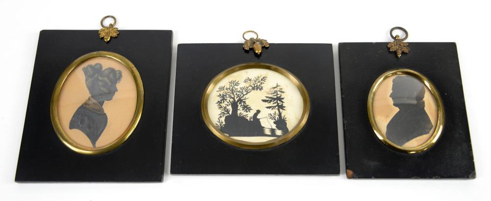 Three 19th century silhouettes  in ebonised frames