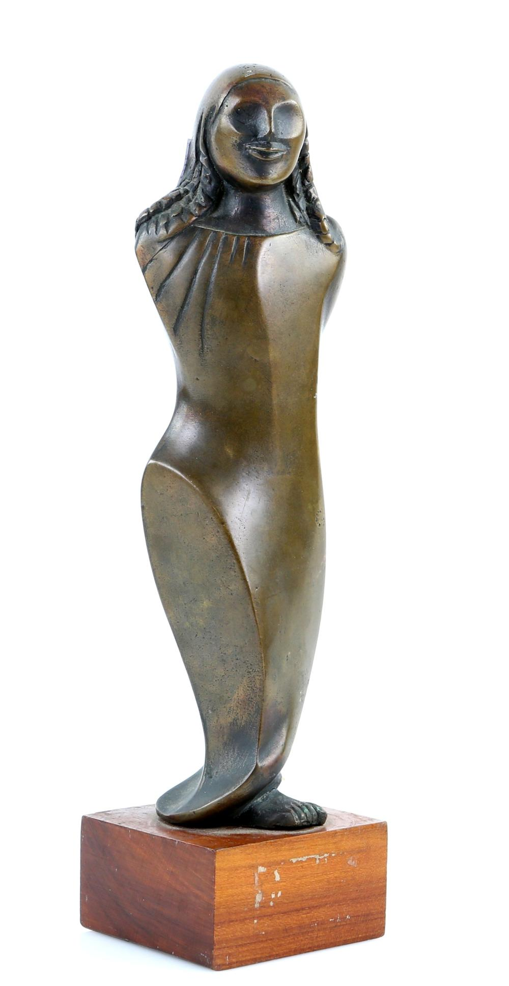 Bronze figure of a woman, inscribed to base indist