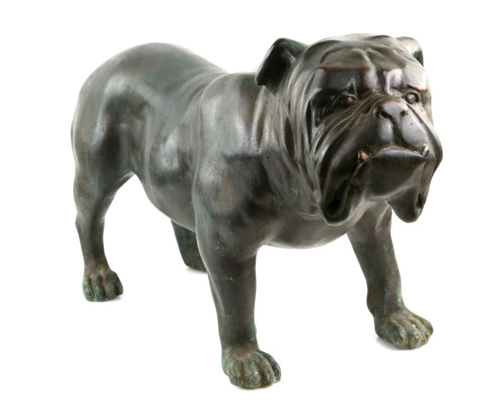 Large bronzed figure of a standing bulldog, 46cm x