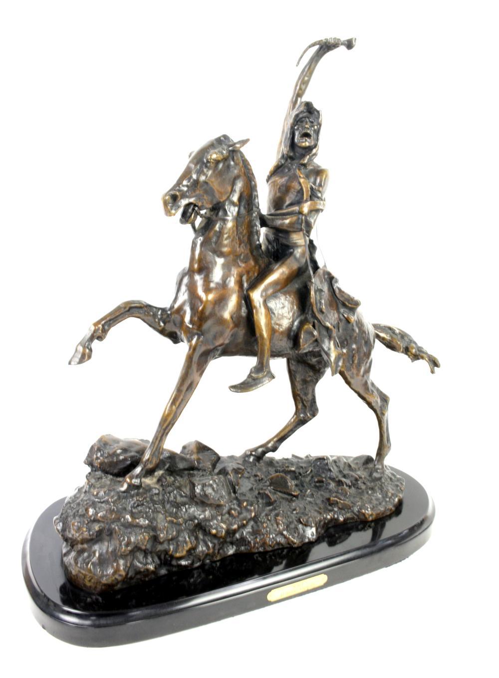 After Frederick Remington 'The Scalp' bronze figur