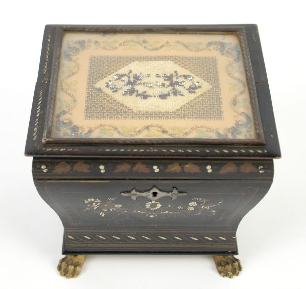 19th century  painted  tea caddy, the top inset wi