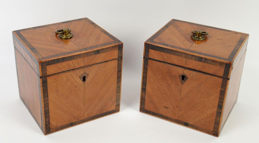 Pair of 19th century satinwood and rosewood crossb