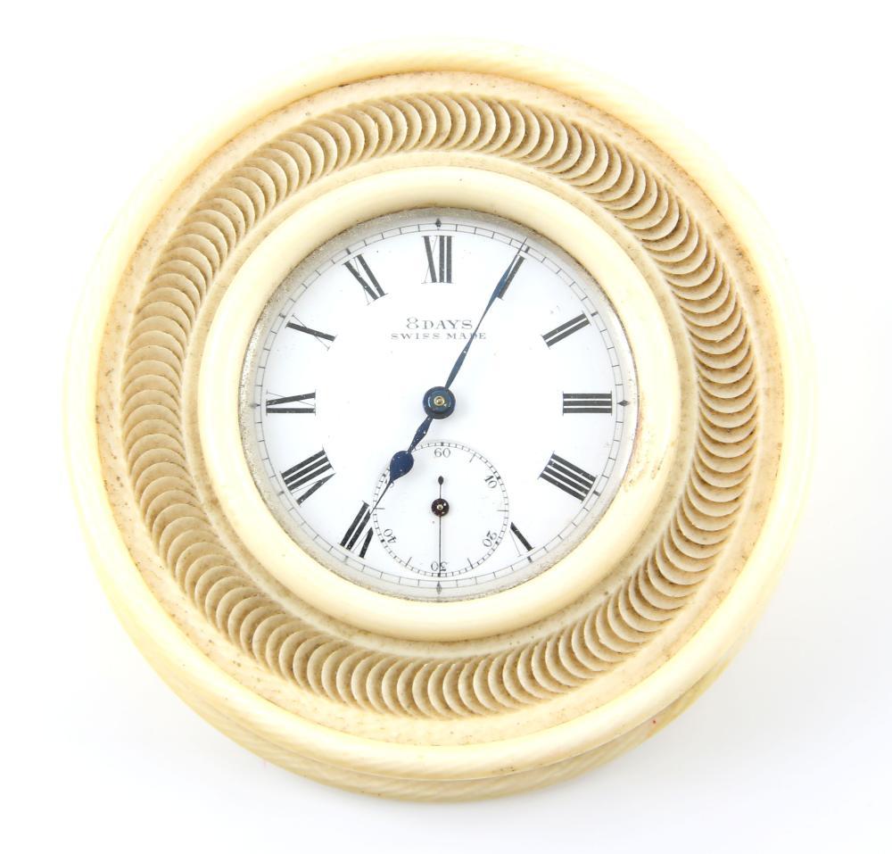 19th century Ivory cased desk clock,  diameter 8cm