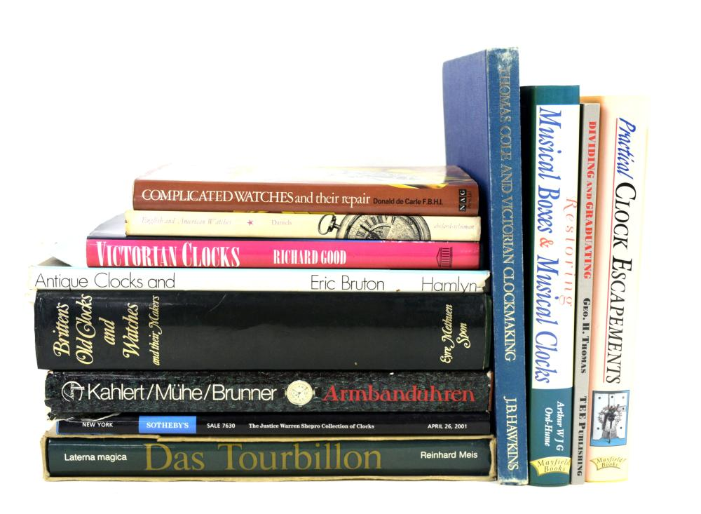 Collection of reference books on clocks and watche