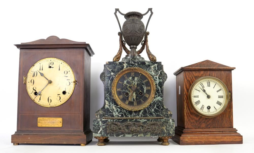 19th century  marble mantel clock with urn finial