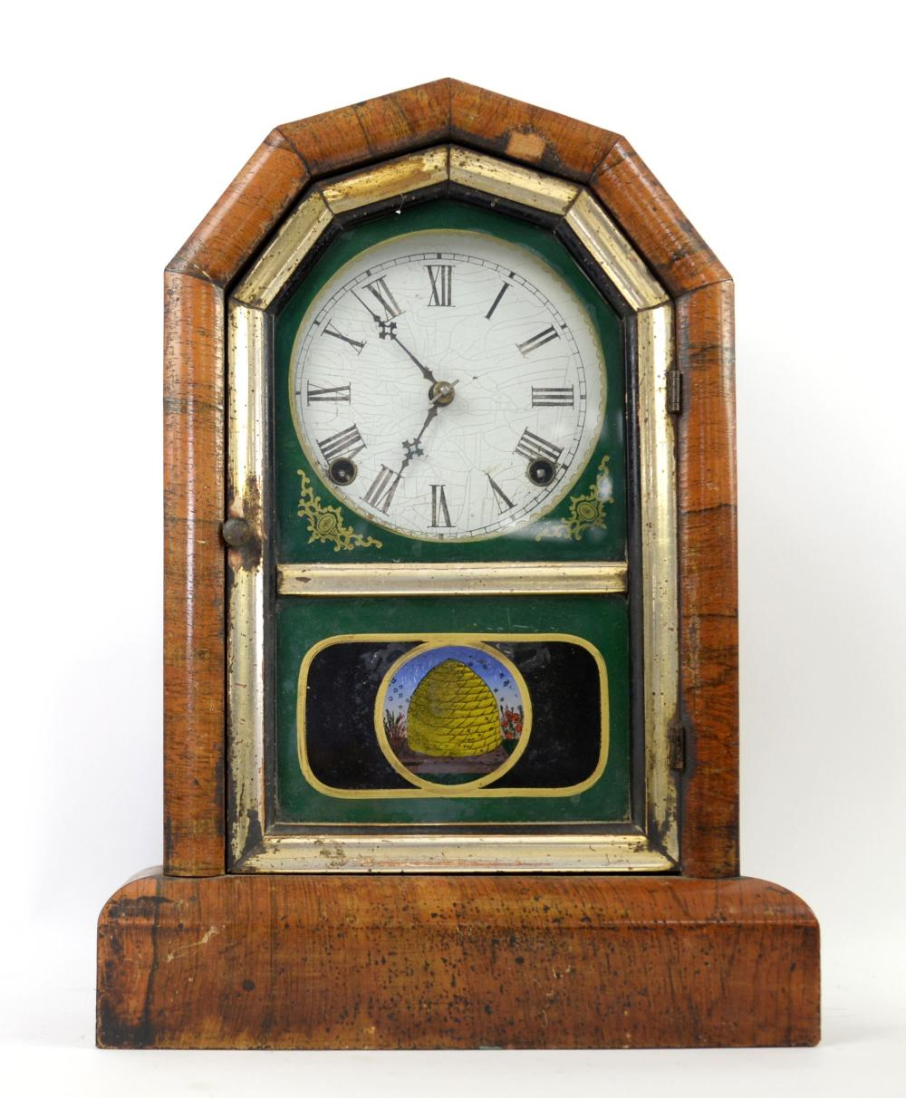 Mid 19th century American mantel clock with two tr