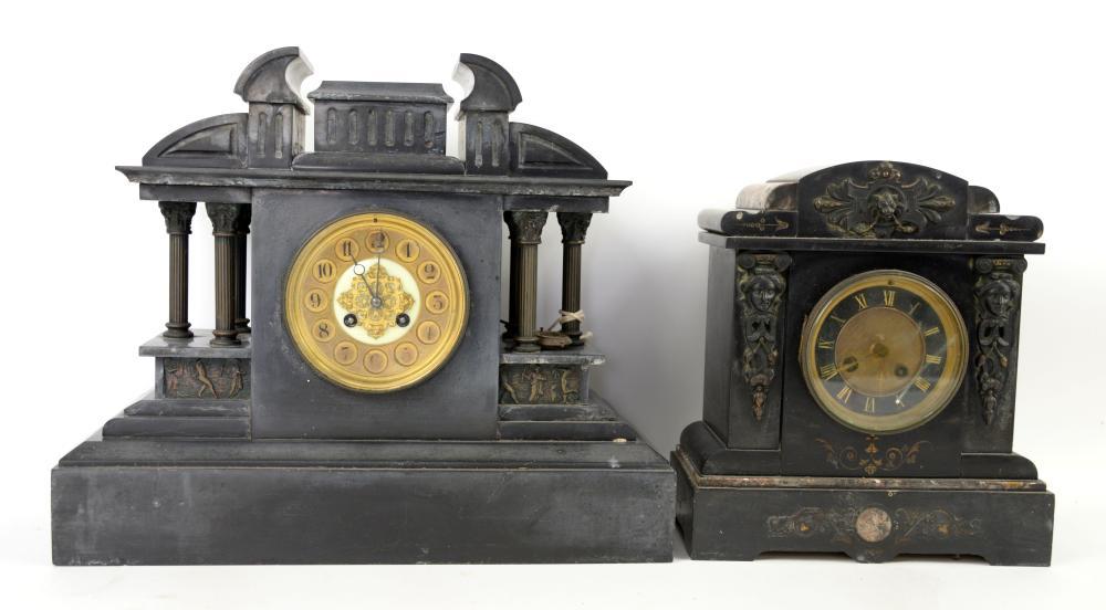 19th century polished slate mantel clock 38cm high