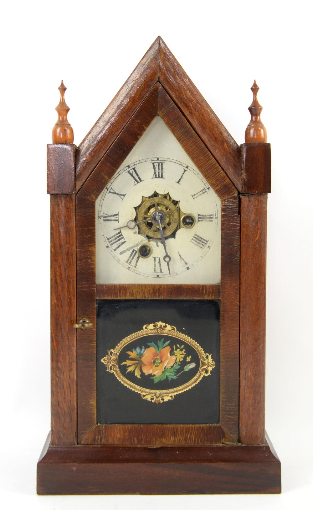 Mid 19th century American mantel clock with twin t