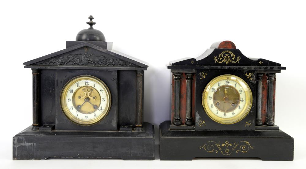 19th century polished slate mantel clock 30cm high