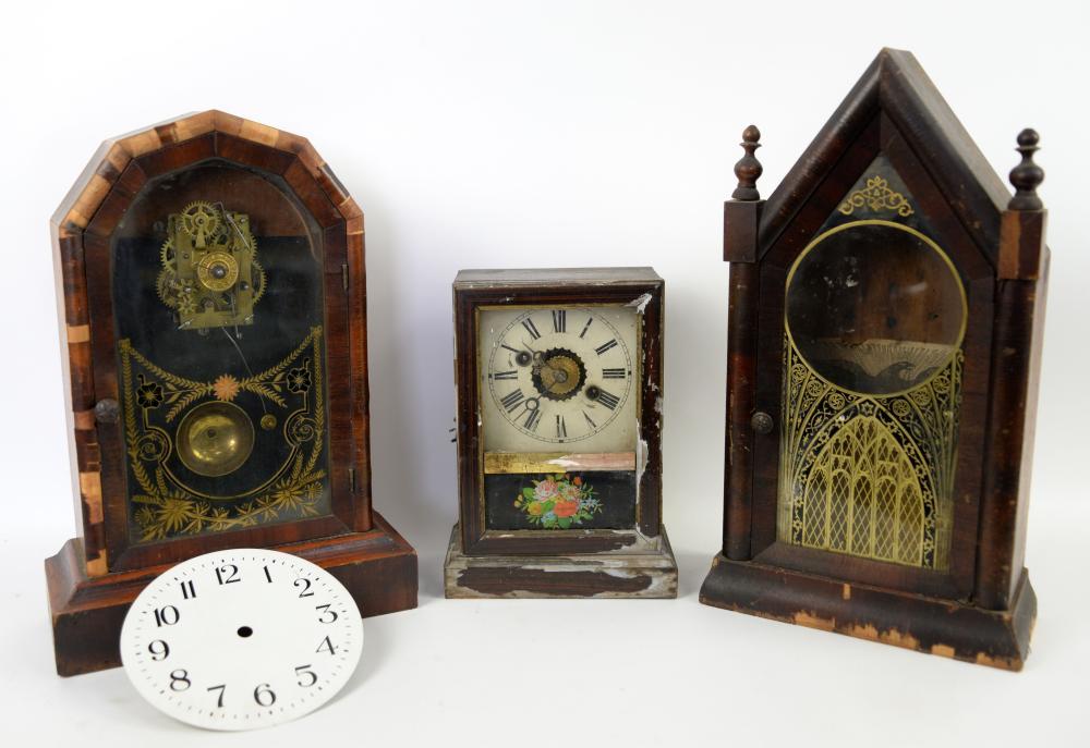 Mid 19th century American mantel clock , 24cm , an