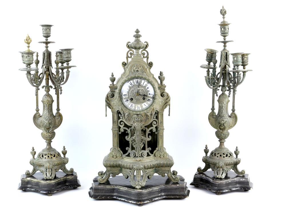 French gilt metal clock garniture , two train move