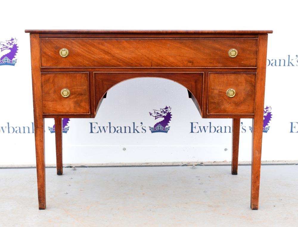 19th century mahogany knee hole dressing table wit