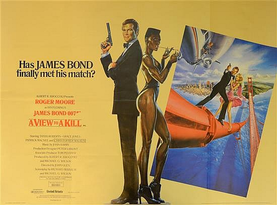 James Bond A View To A Kill (1985) British Quad film poster, Style A, artwork by Daniel Goozee,