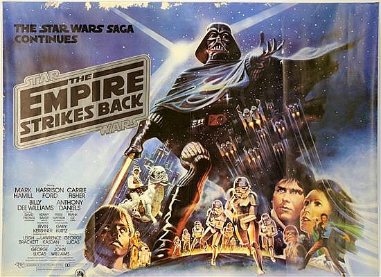 Star Wars The Empire Strikes Back (1980) British Quad film poster, artwork by Drew Struzan, silver logo,