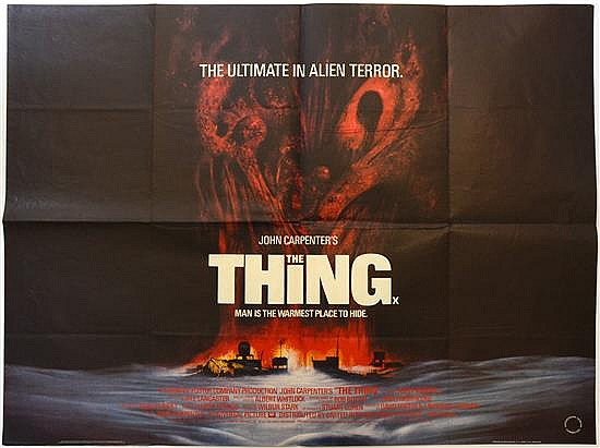 The Thing (1982) & The Hunger (1983) Two British Quad Horror film posters, artwork for The Thing by Drew Struzan,