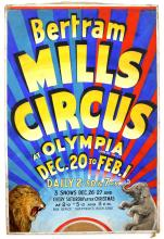 Bertram Mills Circus at Olympia, with a lion and a