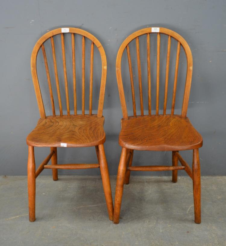 Set Of Four Elm And Beech Kitchen Chairs