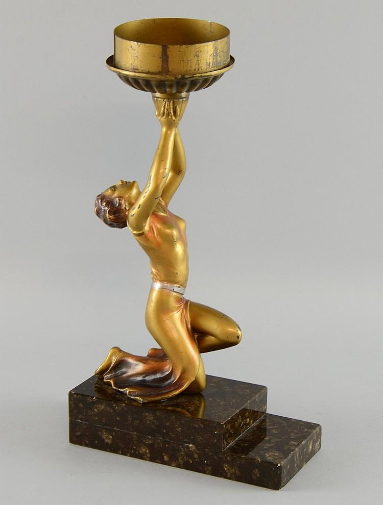 Lot - Vintage Spelter Female Figural Lamp