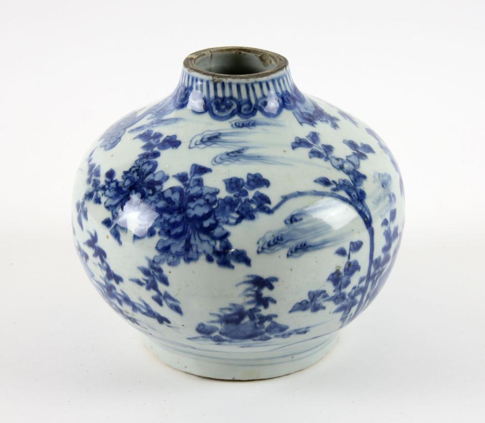 blue chinese bird vase decorated lot