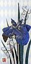 Kazutoshi Sugiura (1938-) - ' Irises no 30.' limited edition wood block print on silk, signed in pencil 97/105 and dated 82,, Kazutoshi Sugiura, Click for value