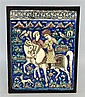 Qutar Pottery lustre plaque decorated with a hawking scene with figures on horse-back
